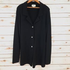 Neiman Marcus 100% Cashmere Cardigan Jacket Black